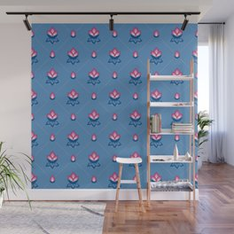 JACOBEAN floral 17, buds on baby blue Wall Mural