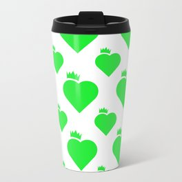 Crown Heart Pattern Green Travel Mug