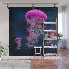 Floating Electric Jellyfish Worlds Wall Mural
