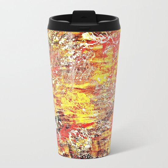 Golden Autumn Abstract Metal Travel Mug
