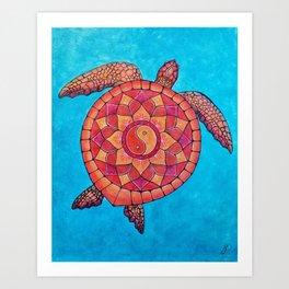 Sunset Seaturtle Yin Yang mandala Art Print