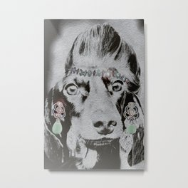 Overly Concerned Dachshund Glamour Metal Print