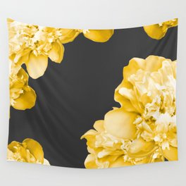 Yellow Flowers On A Dark Background #decor #society #homedecor Wall Tapestry