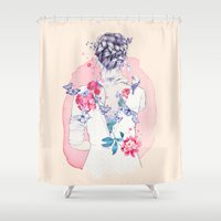 ariana grande Shower Curtains featuring Undress me by Ariana Perez