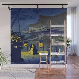 Japanese Woodblock Print Vintage Asian Art Colorful Woodblock Prints Shrine At Night Lantern Wall Mural