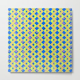 042 Abstract cyan, blue and yellow art for home decoration Metal Print