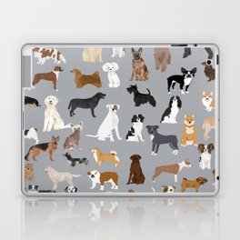Mixed Dog lots of dogs dog lovers rescue dog art print pattern grey poodle shepherd akita corgi Laptop & iPad Skin