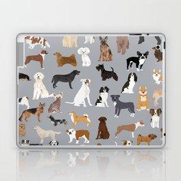 Mixed Dog lots of dogs dog lovers rescue dog art print pattern grey poodle shepherd akita corgi Laptop & iPad Skin