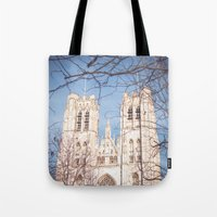 brussels Tote Bags featuring Brussels Cathedral by Ghdv Grafias
