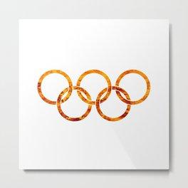 Flaming Olympic Rings Metal Print