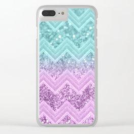 Mermaid Glitter Chevron #1 #shiny #decor #art #society6 Clear iPhone Case
