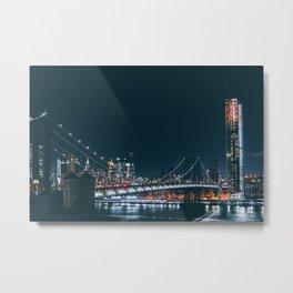 New York City Bridge at Night (Color) Metal Print