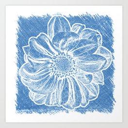 White Flower On Denim Blue Crayon Art Print
