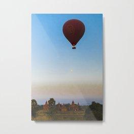 Hot Air Balloon Bagan   Myanmar, Bagan, Burma, Asia   travel photography nature   Green Printable photo art of Myanmar, Asia   Metal Print