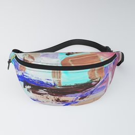 multi-colored painting, contemporary art. acrylic paint, abstract texture hand drawn. blue gray purp Fanny Pack