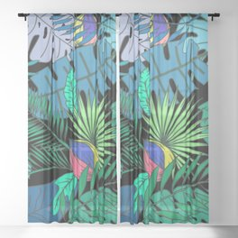 TROPICAL GARDEN B (abstract) Sheer Curtain