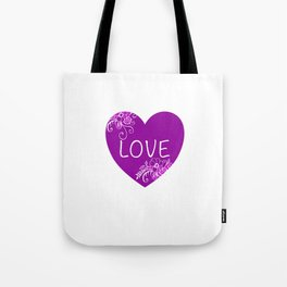 Heart Love violet with Flowers Illustration Tote Bag