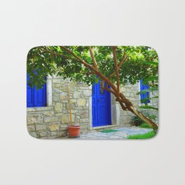 blue door in bodrum Bath Mat