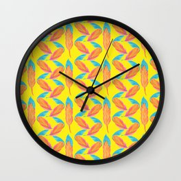 Tropical Yellow Feather Repeat Surface Pattern Design Wall Clock