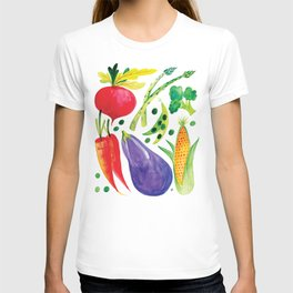 Veg Out - Vegetable, Veggies, Watercolor, Food, Beet, Carrot, Pea T-shirt