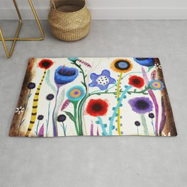 Grungy retro floral burned dusted still life Rug
