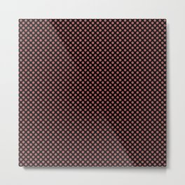 Black and Dusty Cedar Polka Dots Metal Print
