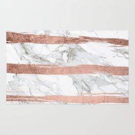 Modern chic faux rose gold brush stripes white marble Rug
