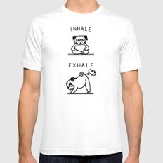 Inhale Exhale Pug SMALL White Mens Fitted Tee