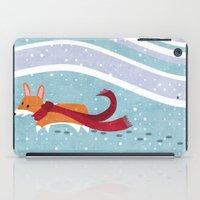 corgi iPad Cases featuring Winter Corgi by Jackie Sullivan