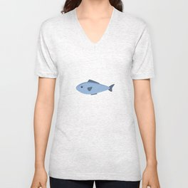 Cute blue sea fish Unisex V-Neck