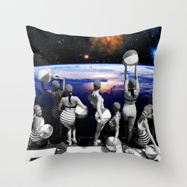 Space Pool Throw Pillow