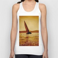 sailboat Tank Tops featuring single sailboat by laika in cosmos