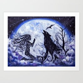 Woman and Wolf Art Print