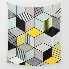 Colorful Concrete Cubes 2 - Yellow, Blue, Grey Wall Tapestry