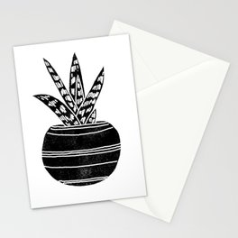 Aloe houseplant linocut black and white minimal modern illustration Stationery Cards