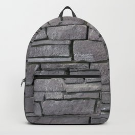 Abstract rustic dark gray shale stone wall Backpack