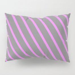 Gray and Violet Colored Lined/Striped Pattern Pillow Sham