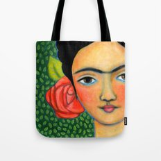 Frida with red flower and green leaf background Tote Bag