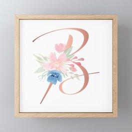 Monogram Copper Floral Letter B Framed Mini Art Print