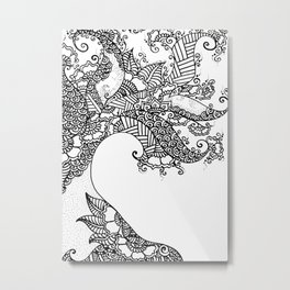 Zen Tree Rebirth White Right Half Metal Print