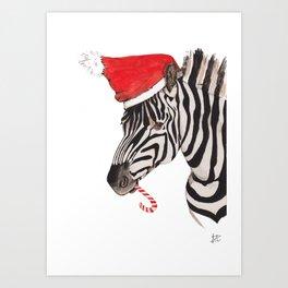 Christmas Zebra Art Print