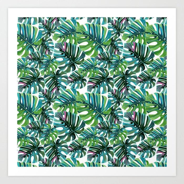 Elephant Tropical Leaves Pattern Art Print