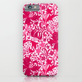 William Morris Iris and Lily, Fuchsia Pink and Burgundy iPhone Case