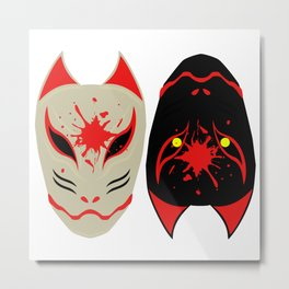 "Japanese Fox Mask ""Good and Evil"" Metal Print"