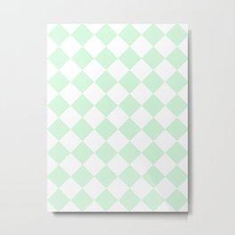 Large Diamonds - White and Pastel Green Metal Print