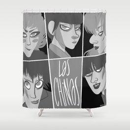 Las chinas Black and White Shower Curtain