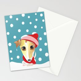 frozen jack russell with red scarf and red hat Stationery Cards