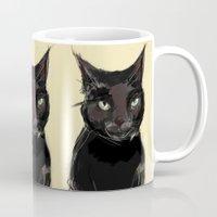 black cat Mugs featuring Black Cat by Jaleesa McLean