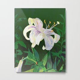 White Lily Floral Watercolor Portrait - Green Background Metal Print