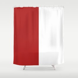 White and Firebrick Red Vertical Halves Shower Curtain